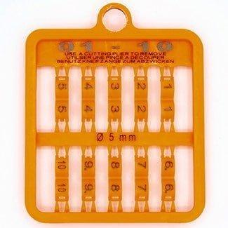Lockring 5 en 6 mm genummerd fluo oranje