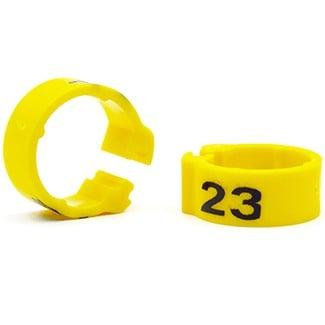 Knijpring genummerd 5 geel