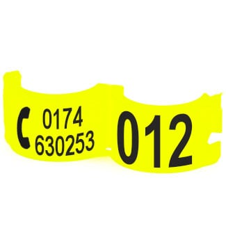 Lockring telefoonnummer + startnummer fluo geel