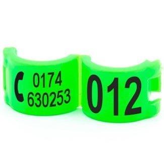 Lockring telefoonnummer + startnummer fluo groen