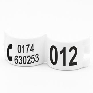 Lockring telefoonnummer + startnummer wit