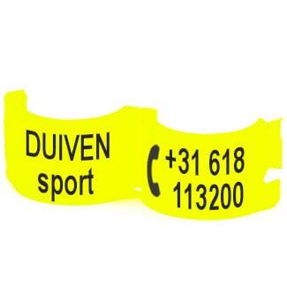 Lockring telefoonnummer + tekst fluo geel