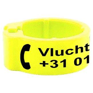 Knijpring telefoonnummer + gepersonaliseerd fluo geel 5