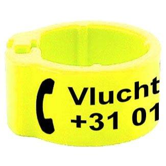 Knijpring telefoonnummer + gepersonaliseerd fluo geel 8