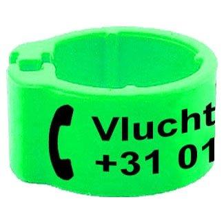 Knijpring telefoonnummer + gepersonaliseerd fluo groen 8