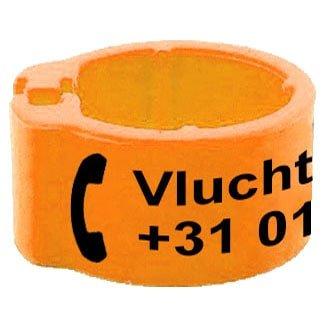 Knijpring telefoonnummer + gepersonaliseerd fluo oranje 8