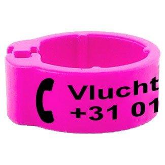 Knijpring telefoonnummer + gepersonaliseerd roze 5