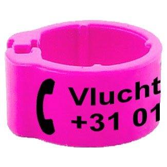 Knijpring telefoonnummer + gepersonaliseerd roze 8