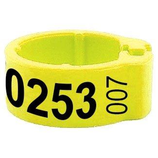 Knijpring telefoonnummer + startnummer geel 5