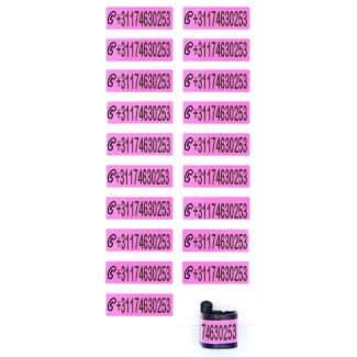 Ringlabel telefoonnummer roze